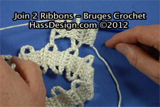 Bruges Crochet - How to Join 2 Ribbons Video