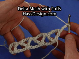 Crochet Video instruction - Delta Mesh with Puffs